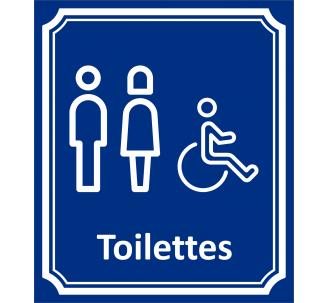 """Plaque porte Côté rue """" Toilettes mixtes, handicapé"""" en aluminium"""