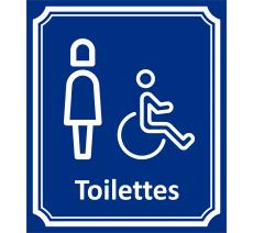 """Plaque porte Côté rue """" Toilettes Femme, handicapé"""" en aluminium"""
