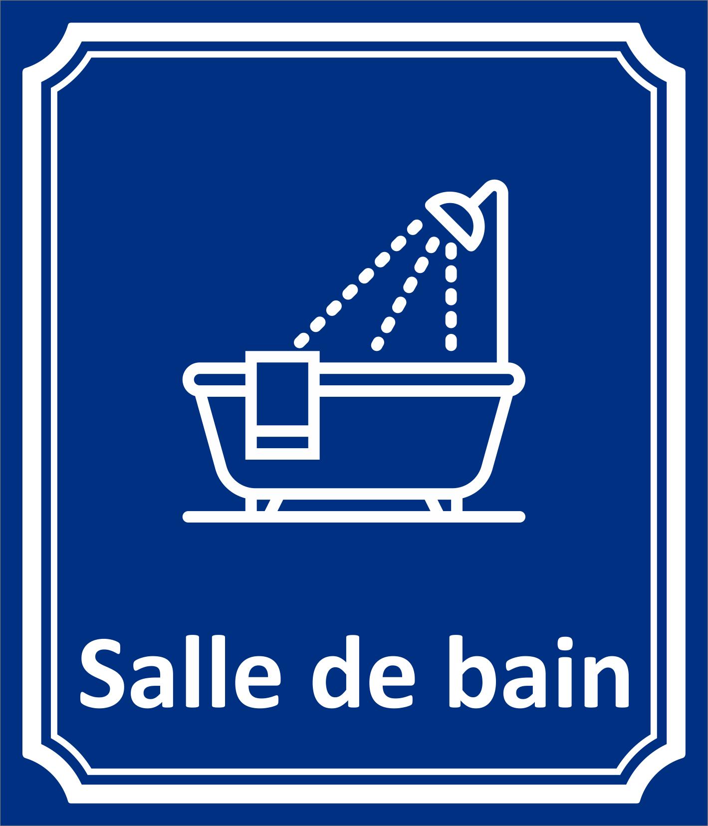"""Salle De Bain Plaque plaque porte """" salle de bain """" en aluminium type côté rue"""