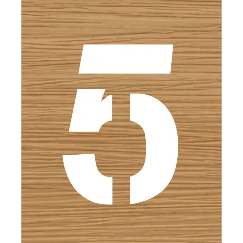 pochoir en bois du chiffre 5. Black Bedroom Furniture Sets. Home Design Ideas
