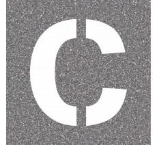 """Pochoir en bois de la lettre """"C"""""""