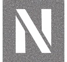 "Pochoir en bois (Isorel) de la lettre ""N"""