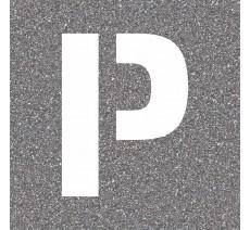 "Pochoir en bois (Isorel) de la lettre ""P"""