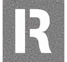 """Pochoir en bois (Isorel) de la lettre """"R"""""""
