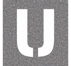 """Pochoir en bois (Isorel) de la lettre """"U"""""""