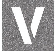 """Pochoir en bois (Isorel) de la lettre """"V"""""""