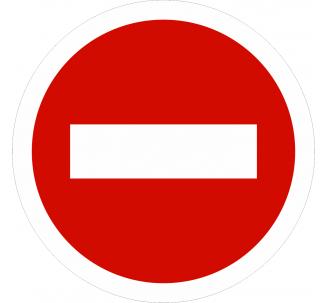 Plaque porte alu brossé picto rond sens interdit