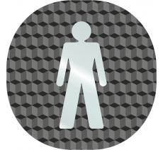 """Plaque porte plexi ,effet 3D """" Toilettes hommes"""""""