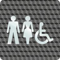 """Plaque porte plexi ,effet 3D """" Toilettes mixtes,handicapés"""""""