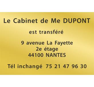 Plaque de transfert provisoire, fond or, texte gravé noir
