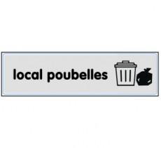Plaque de porte plexi argent local poubelles
