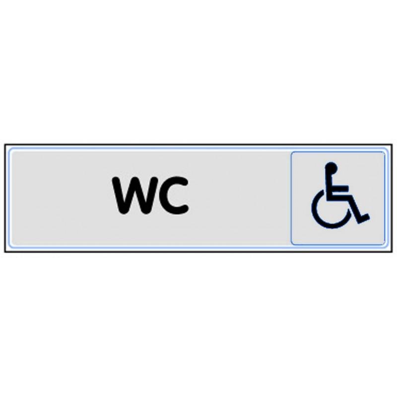 Plaque de porte plexi classique argent wc handicap for Porte wc handicape