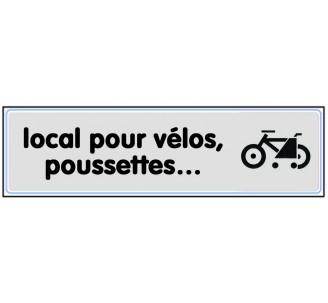 Plaque de porte plexi argent local pour vélos, poussettes, ….
