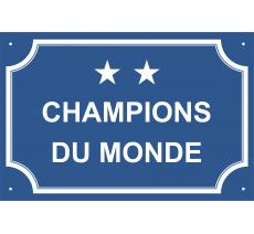 """Plaque de rue humoristique en alu """"Champions du monde"""""""