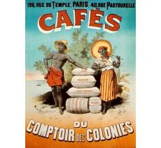 """Plaque publicité """"Café Comptoir des colonies"""""""