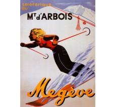 """Plaque publicité  """" Megève Mont d'Arbois  """""""