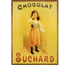 "Plaque publicité vintage ""Chocolat Suchard 1 fillette"""