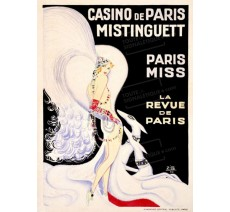 """Plaque publicité  """"  Mistinguette au Casino de Paris  """""""