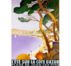 """Plaque publicité  """" Eté sur la Côte d'Azur Juan les Pins """""""
