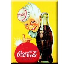 """Plaque publicité  """" Coca Cola fond jaune """""""