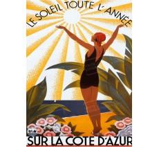 """Plaque publicité vintage """" Soleil toute l'année Côte d'Azur """""""