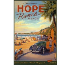 "Publicité Vintage ""Hope Ranch Beach "" sur plaque alu"