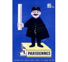 """Publicité Vintage  """"Parisiennes"""" sur plaque alu"""