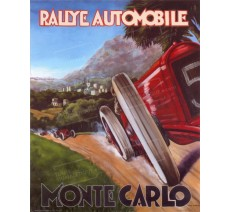 """Publicité Vintage  """"Rallye auto Monté-Carlo"""" sur plaque alu"""