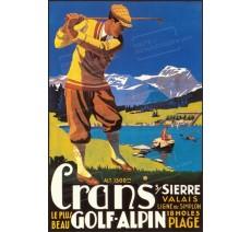 """Publicité Vintage  """"Crans Golf alpin"""" sur plaque alu"""