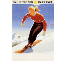 "Publicité Vintage  ""Ski in the sun in France"" sur plaque alu"