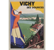 """Publicité Vintage  """"Vichy ses sources"""" sur plaque alu"""