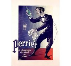"""Publicité Vintage  """"Perrier Champagne des eaux de table"""" sur plaque alu"""