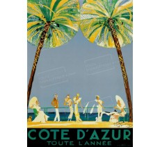 """Publicité Vintage  """"Côte d'Azur toute l'année"""" sur plaque alu"""