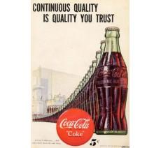 """Publicité Vintage  """"Continuous quality Coca Cola"""" sur plaque alu"""