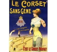"""Publicité Vintage  """"Corset sans gêne"""" sur plaque alu"""