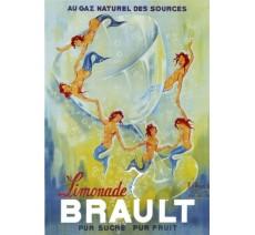 """Publicité Vintage  """"Limonade Brault"""" sur plaque alu"""