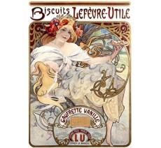"""Publicité Vintage  """"Biscuits LU gaufrette vanille"""" sur plaque alu"""
