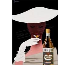"""Publicité Vintage  """"Linherr Vermouth Blanco"""" sur plaque alu"""