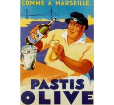 """Publicité Vintage  """"Pastis Olive"""" sur plaque alu"""