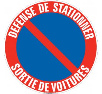 Panneau Défense de stationner, Sortie de voitures