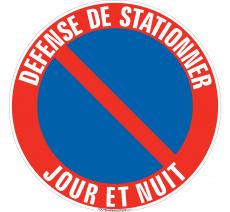 Panneau Défense de stationner, Jour et nuit