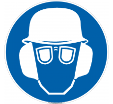 Panneau Port casque, lunettes et casque anti-bruit obligatoire