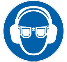 Panneau Port lunettes et casque anti-bruit obligatoire