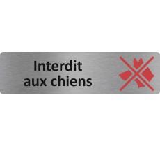 """Plaque de porte standard en alu """" Interdit aux chiens """""""