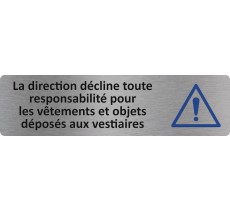 """Plaque de porte standard en alu """" La direction décline toute responsabilité... """""""