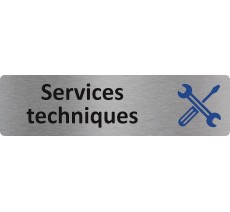 """Plaque de porte standard en alu """" Services techniques """""""