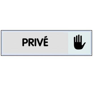 """Plaque de porte """"Privé"""" classique argent"""