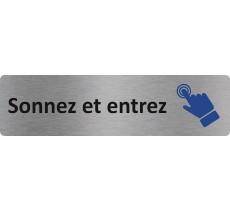"""Plaque de porte économique """" Sonnez et entrez """""""