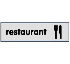 Plaque de porte plexi argent restaurant