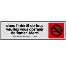 Plaque de porte plexi couleur S'abstenir de fumer